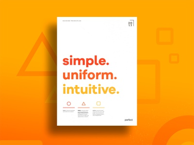 Perfect 'Guiding Principles' Poster typography shapes intuitive uniform principles simple poster perfect orange geometric colorful abstract
