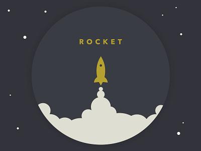 Rocket Logo rocket space logo seal typography avenir retro vintage simple