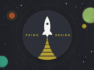 Rocket 2 retro avenir logo rocket seal space typography vintage colors textures