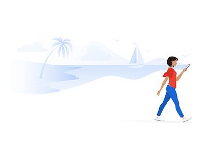 Immersion sailing vacation character walking daydreaming beach vector illustration digital art