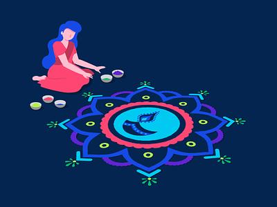 Happy Diwali! rangoli diwali design character art vector illustration digital