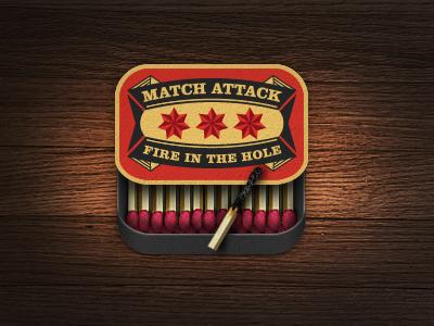 Matchbox match box iphone app icon logo illustration fire star game