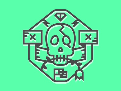 An icon font icon stoke gray outline green bright neon type font skull badge