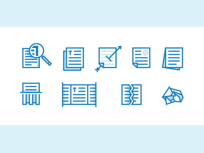 Paper paper icons blue stroke arrow magnify shred rip text
