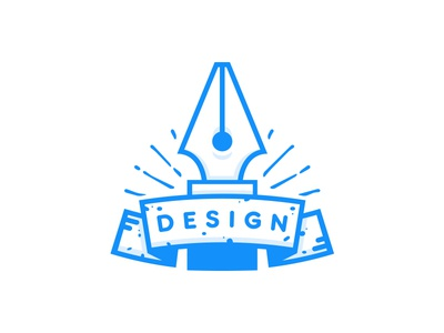 Design design blue icon stroke lines line graphic banner badge pen tool