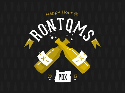 Happy Hour happy hour drinks rontoms beer pdx 2013 portland design week icons gold black