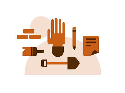 Do work icon orange brown hand pencil paint brush shovel paper shapes