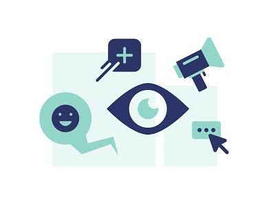 Share icons blue eye megaphone click mouse plus smile chat bubble