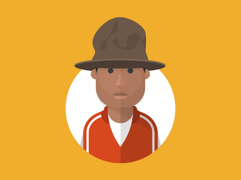 Pharrell pharrell illustration yellow red brown circle shapes