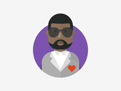 Kanye kanye illustration purple gray brown red shapes