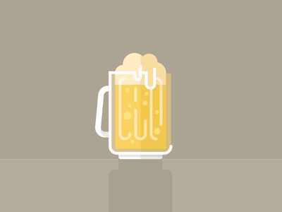 Brewski beer icon illustration yellow brown white