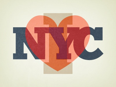 Nyc nyc love heart red blue type