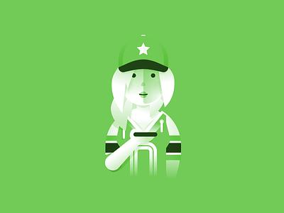 Fan football hat phone jersey girl illustration sports fan