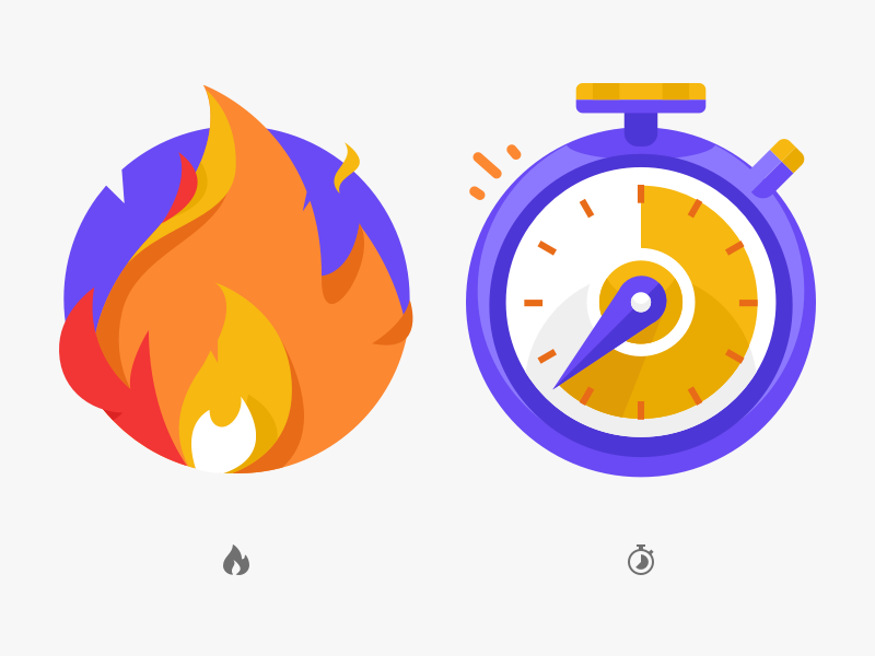 Burnin' time orange yellow purple illustration icon clock time stopwatch flame fire