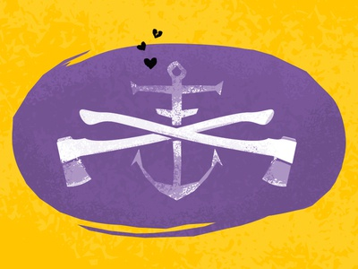 Can you feel it? illustration axe heart love anchor purple yellow texture