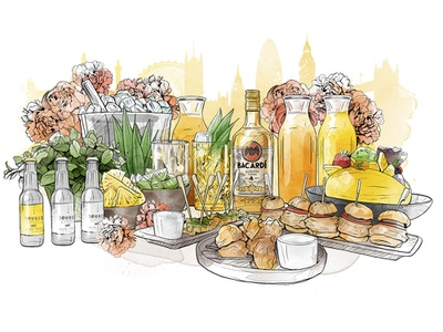 Bacardí color london drink food illustrator style watercolor draw illustration drawing pencil art