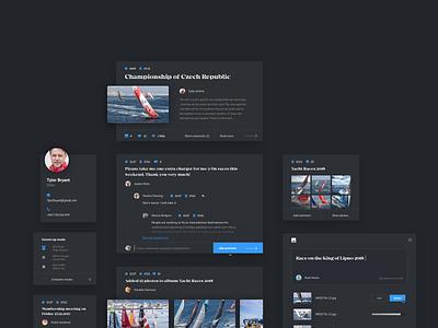 4sail user interface social dark style elements news portal ux ui network yacht interface user