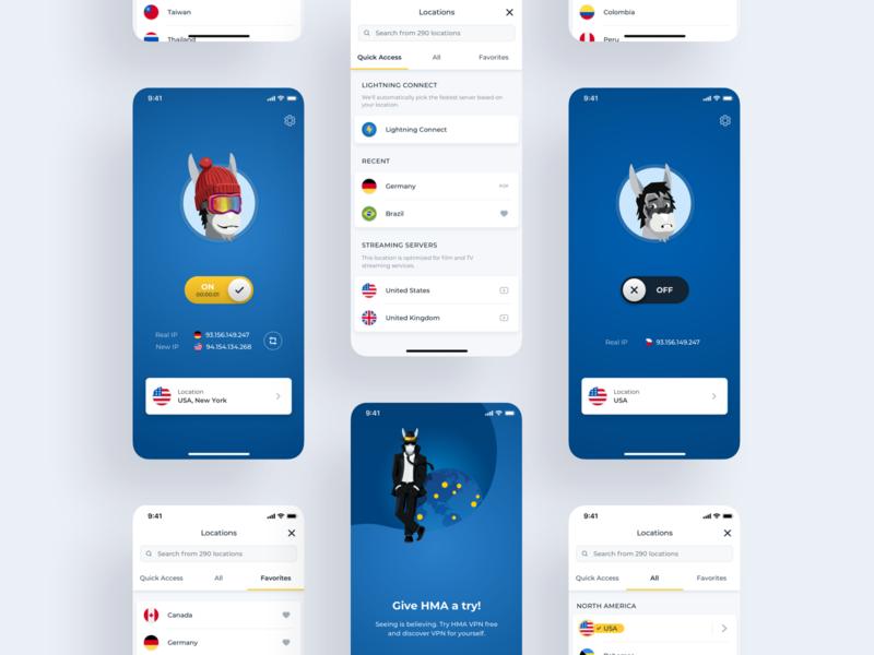 HMA VPN mobile app redesign iosapp hidemyass mobilevpn dashboard clean redesign mobileapp hmavpn hma vpn productdesign realproject application app ux ios ui