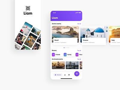 Liam mobile app mobileapp ios cards splashscreen travelapp memories diary travel trips app iphoneapp uxui ux tabbar iosapp product productdesign