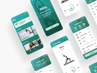 Fitify Yoga app iosapp ios light theme healthyapp healthy layout simple interface ux ui product design app fitify yogaapp yoga