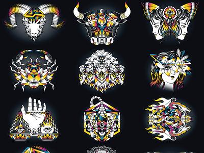 The Zodiac illustration design vector tattoo linework bold geometry symbolism zodiac black shading woman animal flower colorful eye fire water air earth