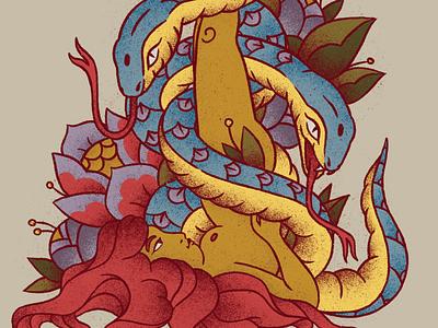 Sarvangasana (Shoulderstand) grain texture body naked redhair redhead plant illustration yoga pose yoga snake flower woman tattoo bold
