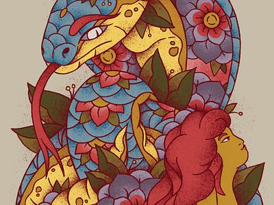 Bhujangasana (Cobra) woman illustration pastel colors grain texture floral pattern floral design floral art yogi naked tattoo design tattoo art tattoo yoga pose india snake cobra colorful floral flower asana yoga
