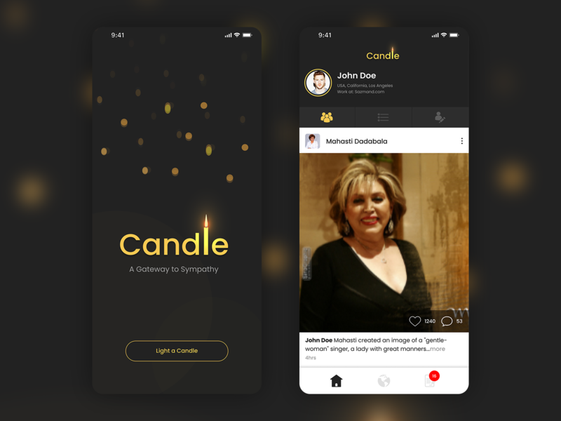 Candle - Give Homage To The Deceased Celebrities celebrities best of dribbble best shot elegant coming soon interaction figma ios minimalism tribute candle ui uiux