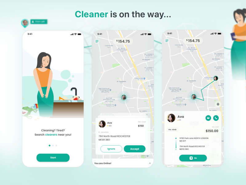 Cleaning Service App mobile app design xd design ui mobile app mobile ui minimalism illustration ios xd best of dribbble uiux