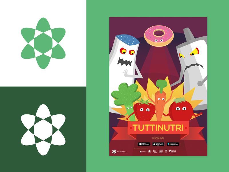 Nutriscience Logo and Illustration Design game nutrition food poster illustration logotype design minimal vector symbol branding logo design