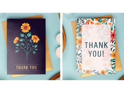 Thank you Card Mock Up - Hand Painted Watercolor Flowers thank you cards stationery design stationary design stationary stationery design pattern flower watercolor art watercolor painting illustration