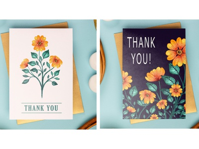 Thank you Card Mock Up - Hand Painted Watercolor Flowers - 2 thank you thankyou greeting cards gretting cards greetingcards card stationery mockups stationery design stationary mockup stationary design stationary stationery vector pattern digital illustration design watercolor art watercolor painting illustration