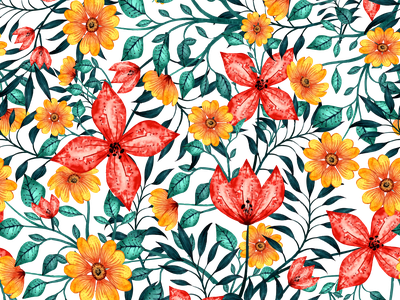 Bold and Beautiful Floral Pattern flower illustration digital painting vector flower pattern digital illustration design watercolor art watercolor illustration