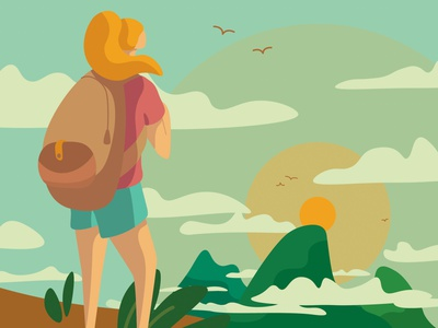 Adventure Awaits hawaii woman girl mountains traveling travel hiker hiking flat ui design vector illustration