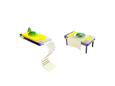 Food App 3D Illustrations cellphone blendercycles eevee render 3d blender ui onboarding food app illustration