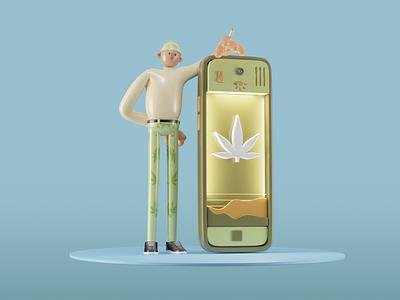 Weed Character APP cannabis manager blunt stoner illustrations marijuana weed greenhouse cycles render character ui blender3d 3d blender design illustration