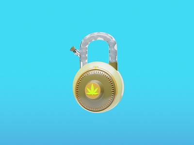 Bonglock cannabis padlock marijuana bong stoner password weed branding blender3d ui design blender illustration