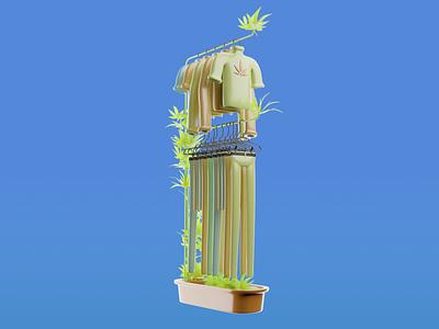 Cannabis Clothing branding ui blender3d 3d blender design illustration