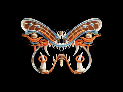 Butterfly Mask butterfly oni mask animal branding logo blender3d 3d blender design illustration