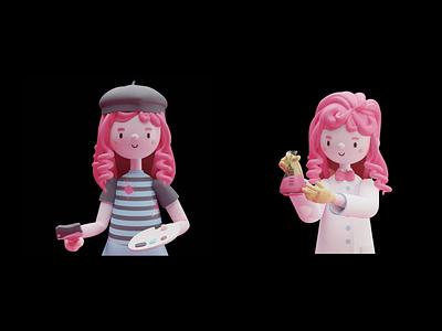 UI Avatar scientist chemistry painter pinky pink character avatar ui 3d blender design illustration