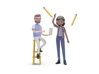 UI - Characters 2 character ui 3d blender3d blender design illustration