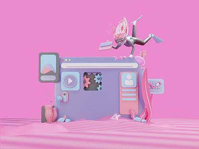 Building Screen cute pink fish sea biology customillustrations ui character 3d blender design illustration
