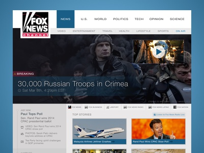 Fox News Redesign redesign fox news news media blue video overlay typography