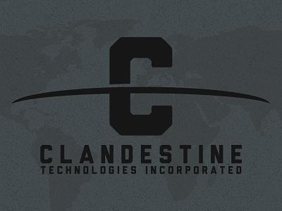 Candestine Technologies logo clandestine dark secretive stealth government nsa word mark