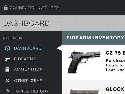 Firearm Inventory Dashboard firearm dashboard admin webapp control panel web app