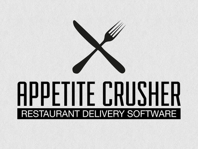 Appetite Crusher Logo food restaurant delivery logo bw black and white logo concept