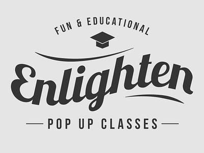 Enlighten Logo cursive old school concept classes education logo