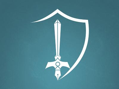 Pen & Sword journalism writing blue logo shield sword pen