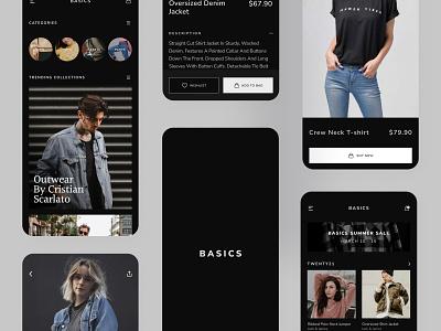 Basics - Minimalist UI Kit (Dark Mode) ecommerce app ecommerce uidesigner ui kits freebie ui kit free ui kit minimal ui minimalist apparel clothing app ios app design usa flat india mumbai uxui uxdesign uidesign shopping app