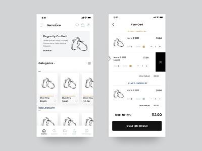 Jewelry App UI Design mobileappdesign ux ui design interface app ui cart ecommerce app gold application ios mobile ui mobile app ui mobile design app design jewelry app flat design app ux ui minimal